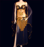 Shimmering Black and Gold Belly dancing