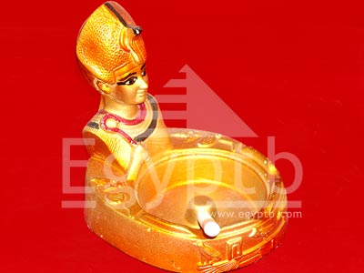 Queen Nefertiti Bust Ancient Egyptian Gold Ashtray