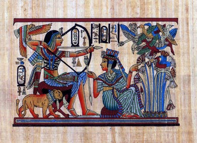Tut And His Wife Hunting Birds