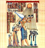 Akenaten and his Family worshiping the (aton)(The Sun)