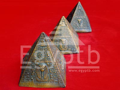 Egyptian Ancient Giza Pyramids with Pharaohs Statues
